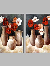 cheap -Hand-Painted Still Life Horizontal Panoramic, Vintage Canvas Oil Painting Home Decoration Two Panels
