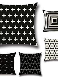 abordables -5 pcs Coton/Lin Taie d'oreiller Nouveaux Oreillers Housse de coussin, Géométrique Damier Classique Style artistique Motif