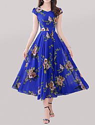 Недорогие -Жен. Большие размеры Богемный А-силуэт Платье - Геометрический принт, С принтом V-образный вырез Макси / Лето