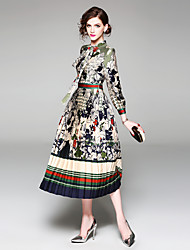 cheap -Women's Vintage / Sophisticated Puff Sleeve Slim A Line / Chiffon / Swing Dress - Floral / Color Block Bow / Pleated / Print High Waist