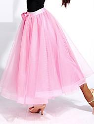 abordables -Danse de Salon Bas Femme Utilisation Tulle Bandeau Ruché Taille moyenne Jupes