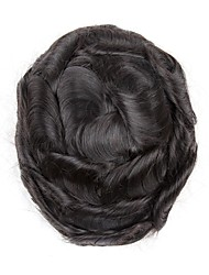 cheap -Men's Human Hair Toupees 100% Hand Tied