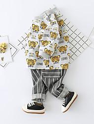 abordables -bébé Pull à capuche & Sweatshirt Unisexe Quotidien Coton Spandex Printemps Manches Longues Actif Gris