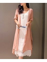 abordables -Femme Grandes Tailles Chinoiserie Ample Robe Couleur Pleine