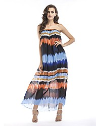 cheap -Women's Boho Chiffon Dress - Geometric Color Block
