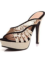 preiswerte -Damen Schuhe PU Frühling Sommer Pumps Sandalen Stöckelabsatz Peep Toe Niete für Hochzeit Party & Festivität Schwarz Rot