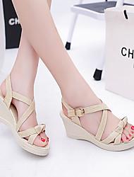 cheap -Women's Shoes PU(Polyurethane) Spring / Summer Comfort Sandals Wedge Heel Open Toe Bowknot Green / Almond / Wedge Heels