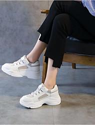 abordables -Femme Chaussures Cuir Printemps Automne Confort Basket Creepers pour Blanc Noir