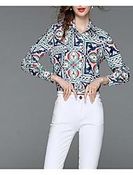 cheap -Women's Puff Sleeve Cotton Blouse - Floral Pleated Shirt Collar