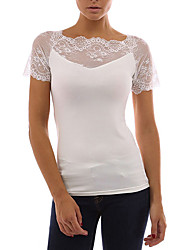 preiswerte -Damen Solide - Grundlegend Street Schick T-shirt Spitze