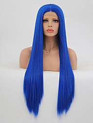 cheap -Synthetic Lace Front Wig Straight Layered Haircut Synthetic Hair Heat Resistant Blue Wig Women's Long Natural Wigs Lace Front Party /