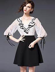 abordables -Femme Mince Noir Robe - A Volants, Points Polka Couleur Pleine Col en V Au dessus du genou