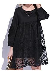 baratos -Mulheres Simples Moda de Rua Chifon Vestido Geométrica Acima do Joelho
