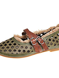 cheap -Women's Shoes PU Summer Moccasin Flats Flat Heel Round Toe for Brown Green Khaki