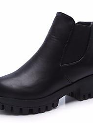 povoljno -Žene Cipele PU Jesen Zima Čizmice Modne čizme Čizme Blok pete Čizme gležnjače / do gležnja za Kauzalni Crn Braon