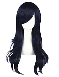 cheap -Synthetic Wig Straight Layered Haircut Synthetic Hair Natural Hairline Blue Wig Women's Mid Length Capless
