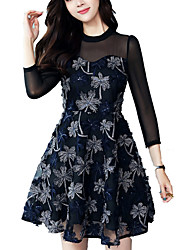 cheap -Women's Holiday A Line Dress - Floral Mesh Embroidered