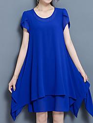 abordables -Femme Grandes Tailles Sortie Vacances Chinoiserie Chic de Rue Ample Courte Robe Couleur Pleine Au dessus du genou Bleu
