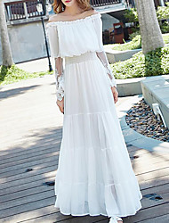 cheap -Women's Loose Dress - Solid Colored White High Rise Maxi Boat Neck