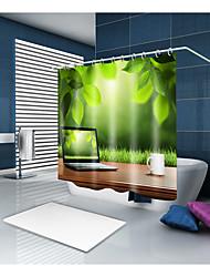 Недорогие -Занавески и крючки Современный На каждый день Полиэстер Современный стиль Новинки механически Водонепроницаемый Ванная комната