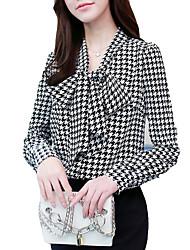 Недорогие -Жен. Офис Рубашка V-образный вырез Классический Шахматка