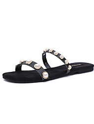 cheap -Women's Shoes PU Spring Comfort Slippers & Flip-Flops Flat Heel Round Toe Imitation Pearl for Casual Black