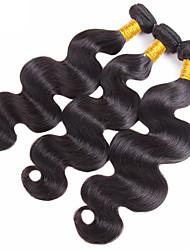 Недорогие -3 Связки Вьетнамские волосы Естественные кудри Не подвергавшиеся окрашиванию Удлинитель / Распродажа брендовых товаров Черный Естественный цвет Ткет человеческих волос