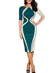 Недорогие -Жен. Большие размеры Хлопок Тонкие Облегающий силуэт Платье - Однотонный Средней длины
