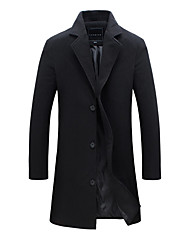 cheap -Men's Work Long Plus Size Cotton Trench Coat - Solid Colored
