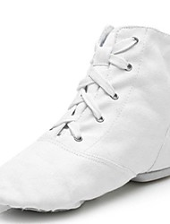cheap -Men's Jazz Shoes Canvas Flat / Sneaker Splicing Flat Heel Customizable Dance Shoes White / Indoor