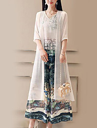abordables -Femme Chemisier - Fleur Pantalon Col en V