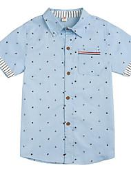 preiswerte -Jungen Alltag Druck Hemd, Baumwolle Polyester Frühling Herbst Kurzarm Grundlegend Rosa Marineblau Leicht Blau