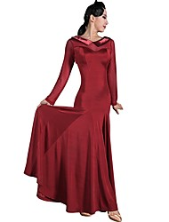 baratos -Dança de Salão Vestidos Mulheres Treino Fio Elástico Seda Sintética Combinação Manga Longa Natural Vestido
