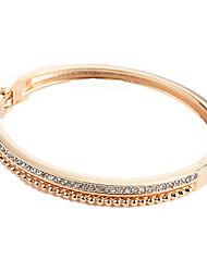 abordables -Femme Zircon Bracelets Rigides - Zircon Doux, Mode Bracelet Or / Noir / Argent Pour Quotidien / Sortie