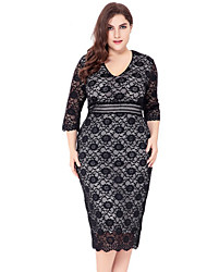 cheap -Women's Plus Size Holiday Basic Shift Dress - Solid Colored Lace / Cut Out V Neck / Summer