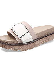 povoljno -Žene Cipele PU Ljeto Udobne cipele Papuče i japanke Ravna potpetica za Kauzalni Crn Badem