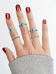 Недорогие -Синтетический турмалин Ring Set - Сплав Сердце, Цветы Классический, Мода 7 Серебряный Назначение Повседневные / Свидание / 5 шт.