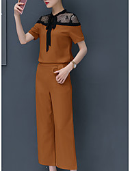 abordables -Mujer Camisa - Un Color Cuello Barco Pantalón / Verano