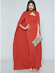 abordables -Femme Grandes Tailles Sortie Chic de Rue / Sophistiqué Mince Moulante / Gaine / Trompette / Sirène Robe Couleur Pleine Taille haute Maxi