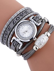 baratos -Mulheres Quartzo Relógio de Pulso Chinês imitação de diamante Relógio Casual PU Banda Casual Fashion Preta Branco Azul Vermelho Marrom