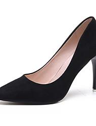 preiswerte -Damen Schuhe Nubukleder Frühling Herbst Pumps Komfort High Heels Stöckelabsatz für Normal Schwarz Grau Braun