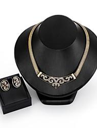 baratos -Mulheres Zircão / Prata Chapeada / Chapeado Dourado Conjunto de jóias 1 Colar / Brincos - Importante / Fashion Forma Geométrica Dourado /