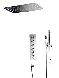 Недорогие -Смеситель для душа - Современный Хром На стену Керамический клапан Bath Shower Mixer Taps / Латунь