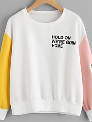 abordables -Femme Actif Basique Sweatshirt Couleur Pleine Coton