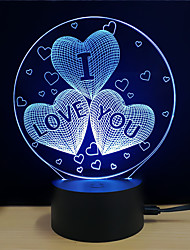 Недорогие -1 комплект LED Night Light / 3D ночной свет Поменять DC Powered / USB Меняет цвета / Креатив / Украшение 5 V 3D