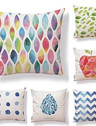 cheap -6 pcs Textile Cotton/Linen Pillow case Pillow Cover, Special Design Geometric Pattern Contemporary Geometric High Quality