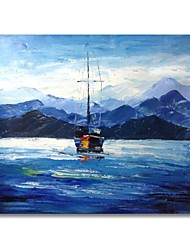 cheap -STYLEDECOR Modern Hand Painted Abstract Blue Sea and Sailboat Oil Painting on Canvas for Wall Art