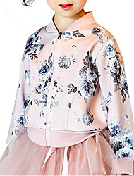 cheap -Girls' Casual/Daily Going out School Solid Floral Suit & Blazer, Cotton All Seasons Long Sleeves Floral Blushing Pink Royal Blue
