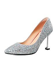 preiswerte -Damen Schuhe Paillette Frühling Herbst Pumps High Heels Stöckelabsatz Spitze Zehe für Hochzeit Party & Festivität Silber Rot