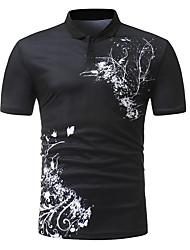 baratos -Homens Polo Temática Asiática Moda de Rua Estampado, Floral Estampa Colorida Preto & Branco
